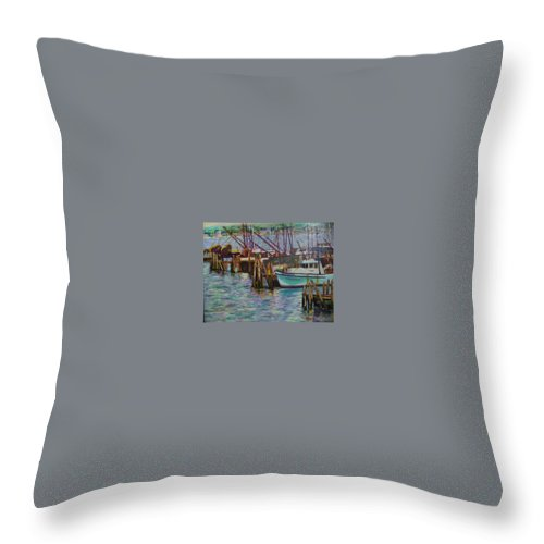 Boat Throw Pillow featuring the painting Green Boat At Rest- Nova Scotia by Richard Nowak