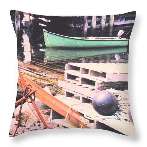 Green Throw Pillow featuring the photograph Green Boat by Ian MacDonald