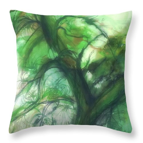 Trees Throw Pillow featuring the painting Swirling Green by Leila Atkinson