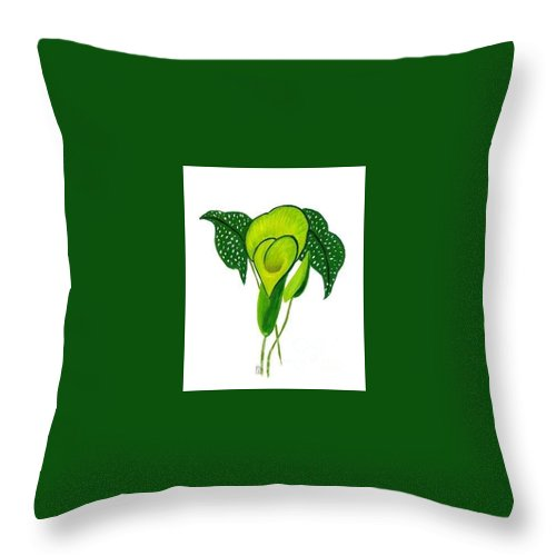 Floral Throw Pillow featuring the painting Green Calla Lily Study by Mary Erbert