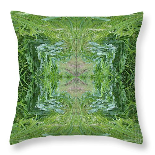Digital Art Throw Pillow featuring the digital art Green Fractal by Charles Robinson