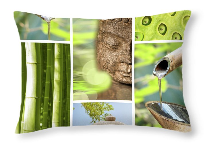 Buddha Throw Pillow featuring the photograph Green Collage by Delphimages Photo Creations