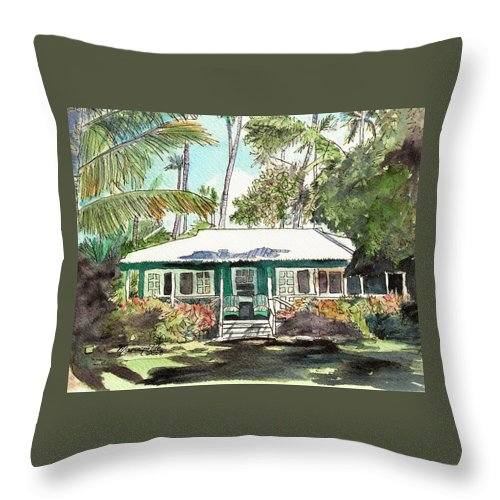 Cottage Throw Pillow featuring the painting Green Cottage by Marionette Taboniar