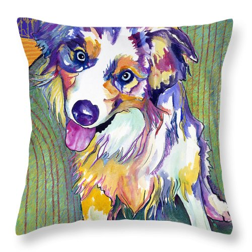 Pat Saunders-white Throw Pillow featuring the painting Green Couch  by Pat Saunders-White