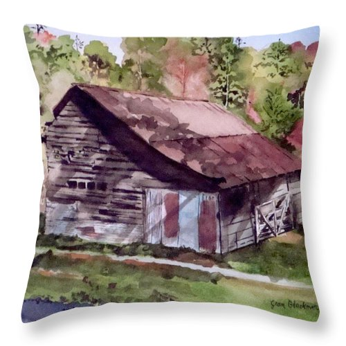 Barns Throw Pillow featuring the painting Green Creek Barn by Jean Blackmer