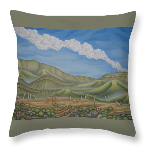 Landscape Throw Pillow featuring the painting Green Desert by Jeniffer Stapher-Thomas