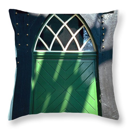 Green Throw Pillow featuring the photograph Green Door by Flavia Westerwelle