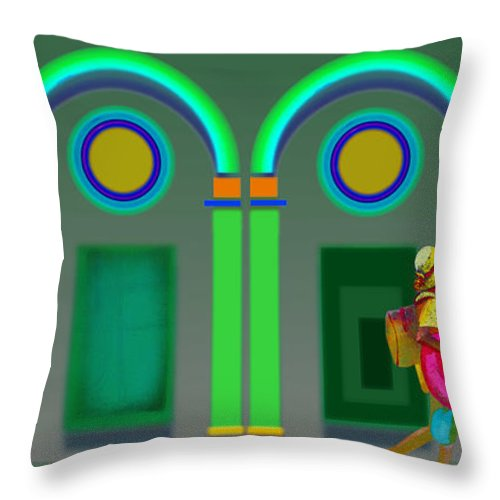 Classical Throw Pillow featuring the painting Green Doors by Charles Stuart