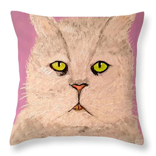 Green Eye Throw Pillow featuring the painting Green Eye by Aat Kuijpers