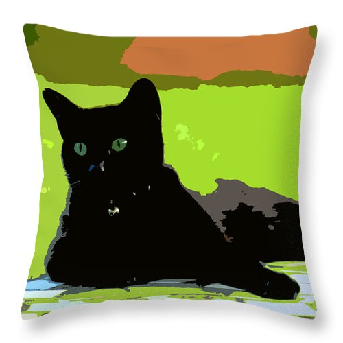 Cat Throw Pillow featuring the painting Green Eyes by David Lee Thompson