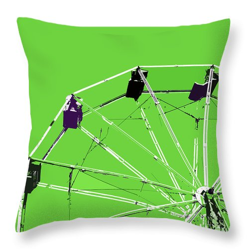 Green Throw Pillow featuring the painting Green Ferris Wheel by Glennis Siverson