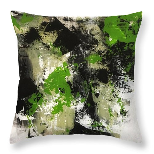 Throw Pillow featuring the painting Green Field #1 by Suzzanna Frank