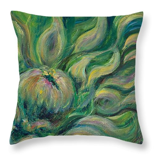 Green Throw Pillow featuring the painting Green Flowing Flower by Nadine Rippelmeyer