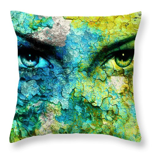 Fairy Throw Pillow featuring the painting Green Goddess Women Eye 562a69d19