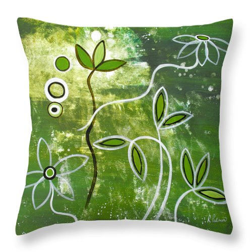 Abstract Throw Pillow featuring the painting Green Growth by Ruth Palmer