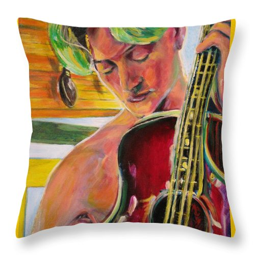 Boy Throw Pillow featuring the painting Green Hair Red Bass by Dennis Tawes