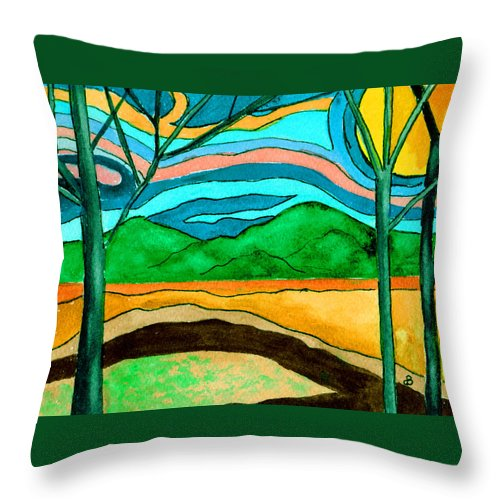 Watercolor Throw Pillow featuring the painting Green Hill Country by Brenda Owen