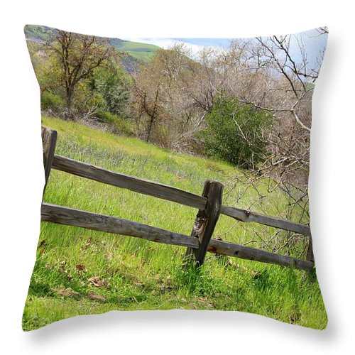 Landscape Throw Pillow featuring the photograph Green Hills And Rustic Fence by Carol Groenen