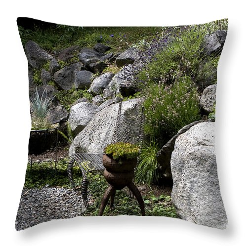 San Juan Islands Throw Pillow featuring the photograph Green In Rock Garden by Lorraine Devon Wilke