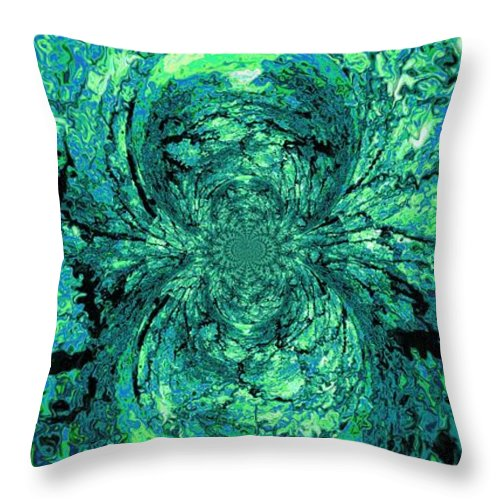 Green Throw Pillow featuring the digital art Green Irrevelance by Charleen Treasures