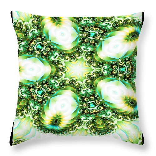 Fractal Throw Pillow featuring the digital art Green Jello by Charmaine Zoe