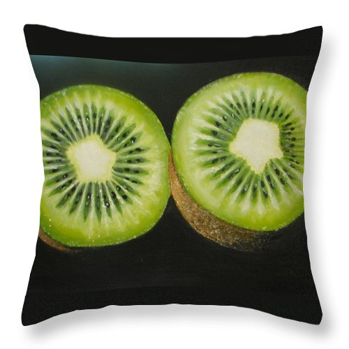 Abstract Throw Pillow featuring the painting Green kiwi oil painting by Natalja Picugina