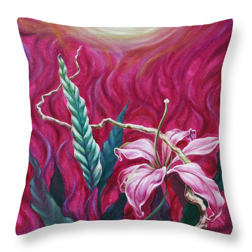 Throw Pillow featuring the painting Green Leaf by Jennifer McDuffie