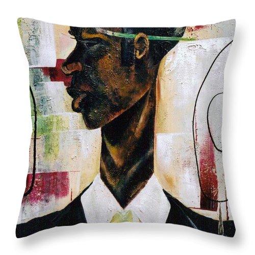 Green Throw Pillow featuring the painting Green Light Green Stripe by Hasaan Kirkland