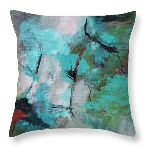 Abstract Throw Pillow featuring the painting Blue Man by Suzzanna Frank