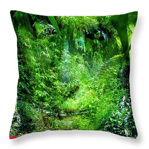 Nature Throw Pillow featuring the digital art Green Man by Seth Weaver