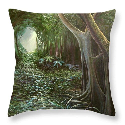 Barbados Throw Pillow featuring the painting Green Mansions by Hunter Jay