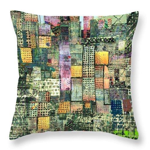 Urban Art Throw Pillow featuring the digital art Green Metropolis by Andy Mercer