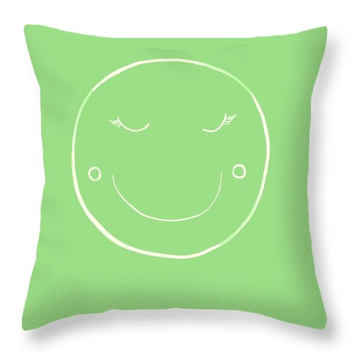 Moon Throw Pillow featuring the painting Green Moon by Sweeping Girl