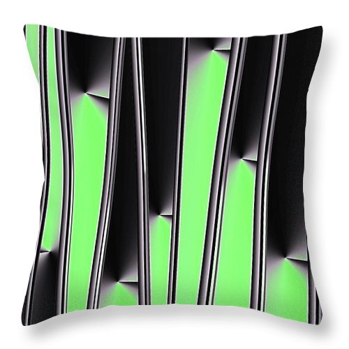 Gradient Throw Pillow featuring the digital art Green on Black by Ron Bissett
