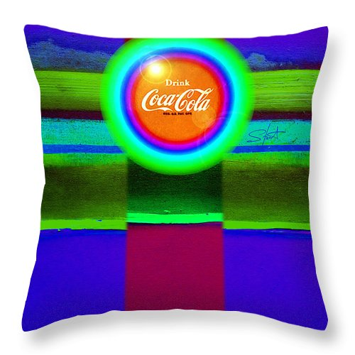 Violet Throw Pillow featuring the painting Green On Violet by Charles Stuart