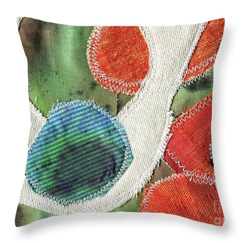 Green Orange Abstract 1 - Contemporary Art - Stitched Landscape - Abstract Embroidery - Elizabethafox Throw Pillow featuring the tapestry - textile Green Orange Abstract 1 by Elizabetha Fox