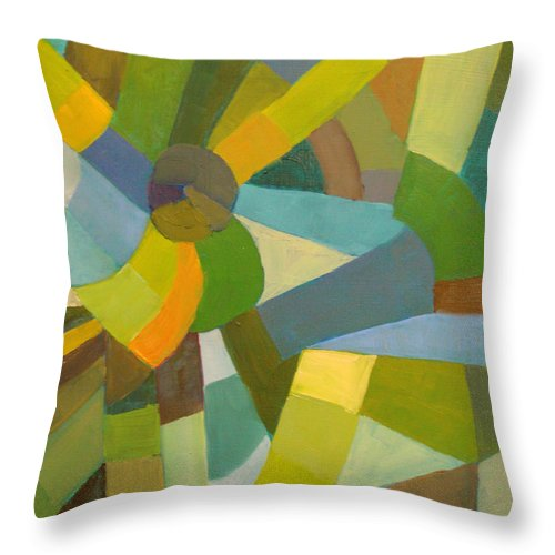 Green Throw Pillow featuring the painting Green Pallette by Art Nomad Sandra Hansen