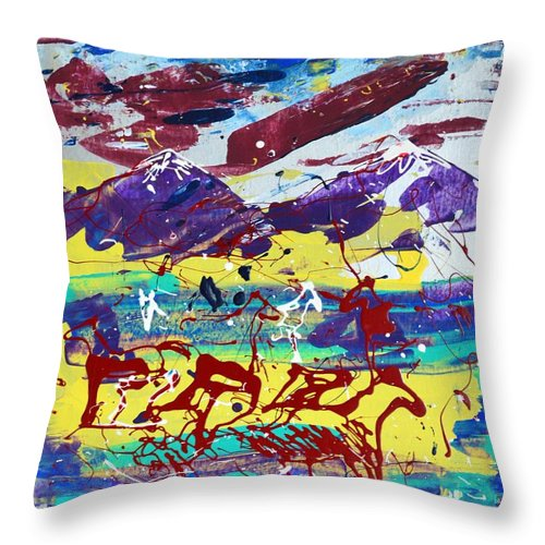 Horses Grazing Throw Pillow featuring the painting Green Pastures And Purple Mountains by J R Seymour