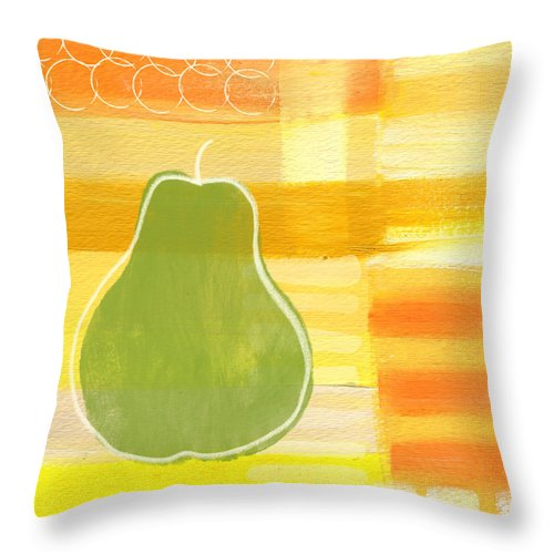 Pear Throw Pillow featuring the painting Green Pear- Art By Linda Woods by Linda Woods