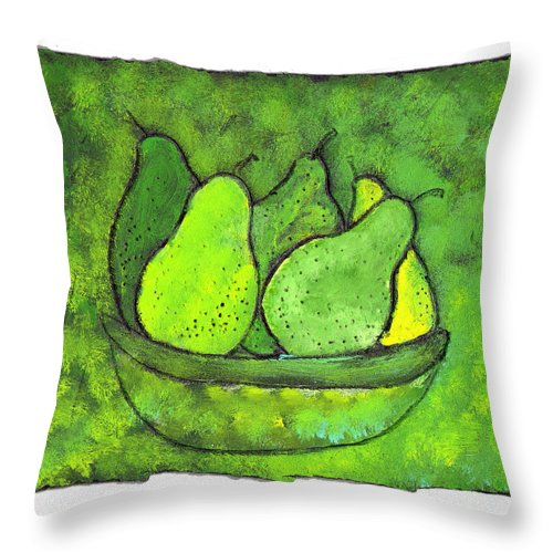 Greem. Pears Throw Pillow featuring the painting Green Pears by Wayne Potrafka