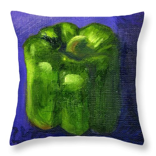 Pepper Throw Pillow featuring the painting Green Pepper On Linen by Gloria Condon