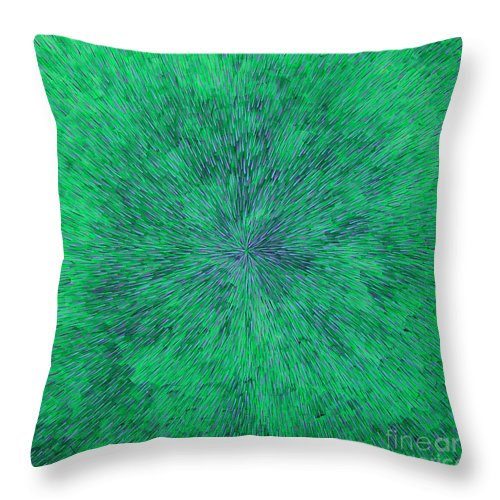 Abstract Throw Pillow featuring the painting Green Radation With Violet by Dean Triolo