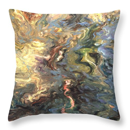 Green Throw Pillow featuring the painting Green by Rick Nederlof