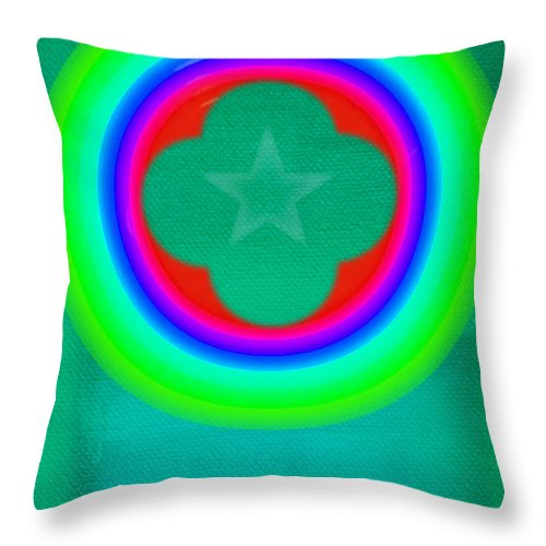 Abstract Throw Pillow featuring the painting Green See by Charles Stuart