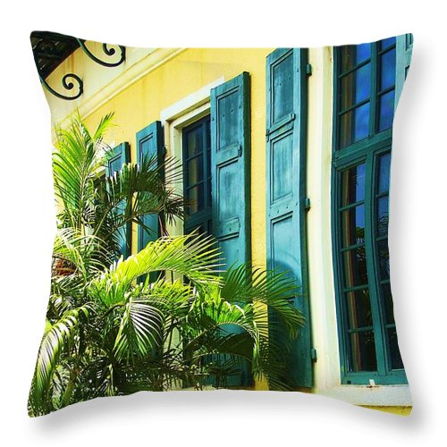 Architecture Throw Pillow featuring the photograph Green Shutters by Debbi Granruth