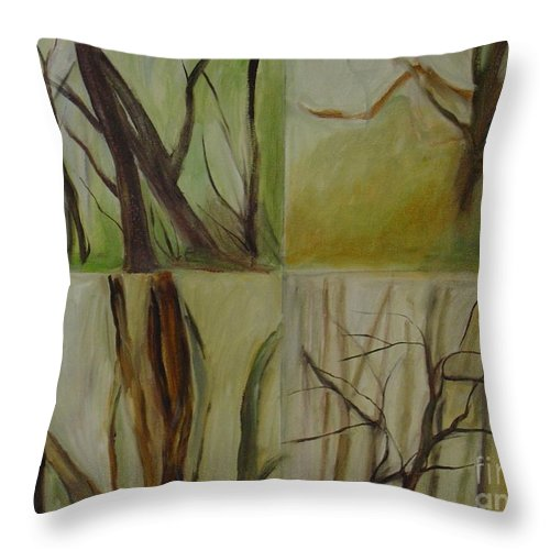 Spring Young Trees Saplings Trees Throw Pillow featuring the painting Green Sonnet by Leila Atkinson