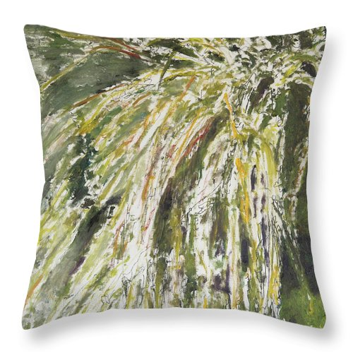 Plants Throw Pillow featuring the painting Green Reeds by Craig Newland