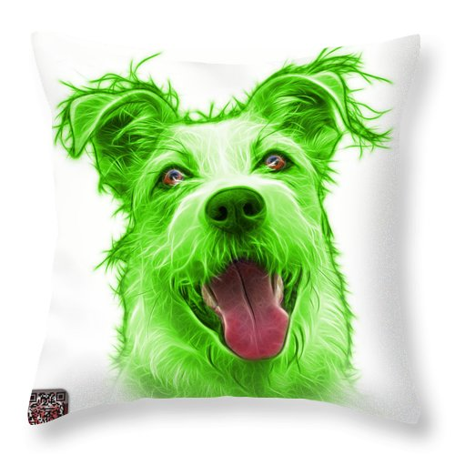 Terrier Throw Pillow featuring the painting Green Terrier Mix 2989 - Wb by James Ahn