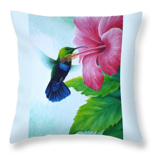 Green-throated Carib Hummingbird Throw Pillow featuring the painting Green-throated Carib And Pink Hibiscus by Christopher Cox
