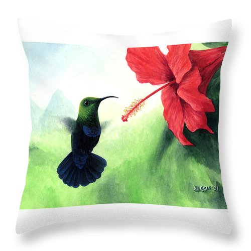 Chris Cox Throw Pillow featuring the painting Green-throated Carib Hummingbird And Red Hibiscus by Christopher Cox